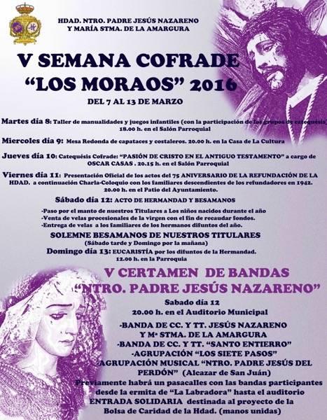 """CARTEL SEMANA COFRADE 2016 herencia - """"Los Moraos"""" presentan su V Semana Cofrade con un tinte de Aniversario"""