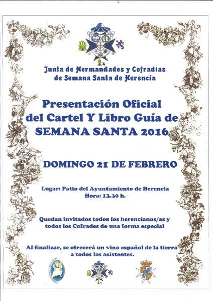 Cartel presentacion libro guia semana santa y cartel - Acto de presentación del libro-guía y cartel de la Semana Santa de Herencia 2016