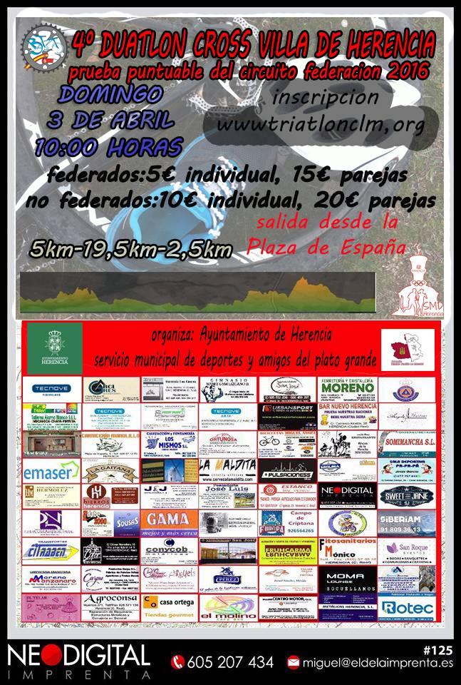 "Cartel duatlon cross herencia 2016 - IV Duatlón-Cross ""Villa de Herencia"" el próximo 3 de abril"