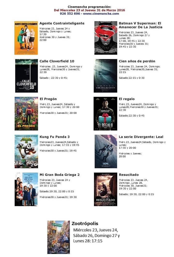 Cartelera de Cinemancha del Miércoles 23 al jueves 31 de marzo 1