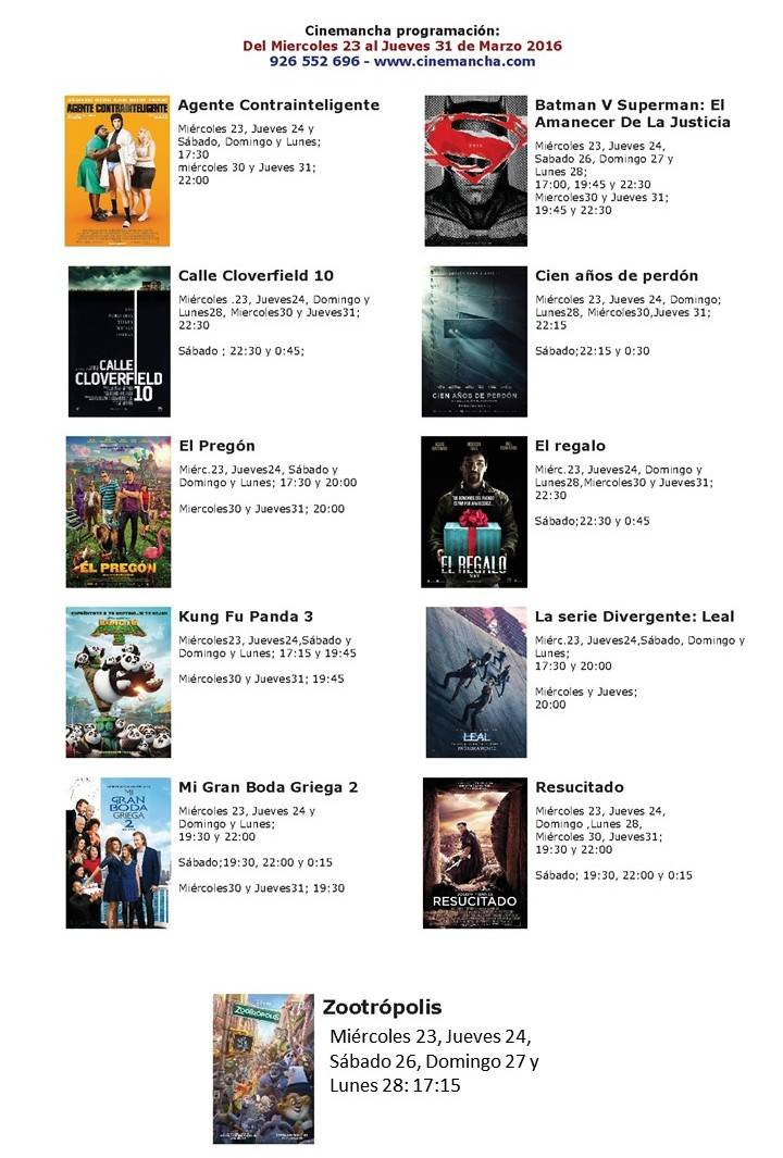 Cartelera - Cartelera de Cinemancha del Miércoles 23 al jueves 31 de marzo