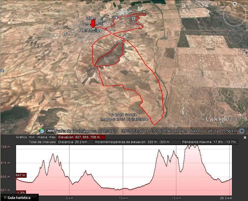 """Perfil y circuito a bici - IV Duatlón-Cross """"Villa de Herencia"""" el próximo 3 de abril"""