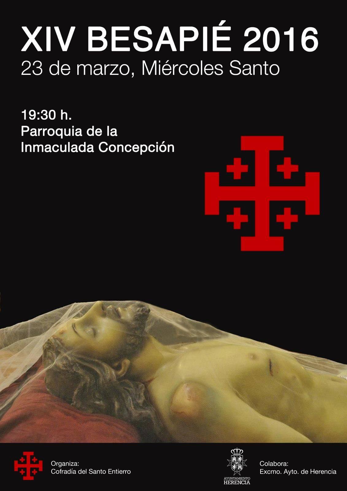 Cartel del XIV besapié de la Cofradía del Santo Entierro de Herencia
