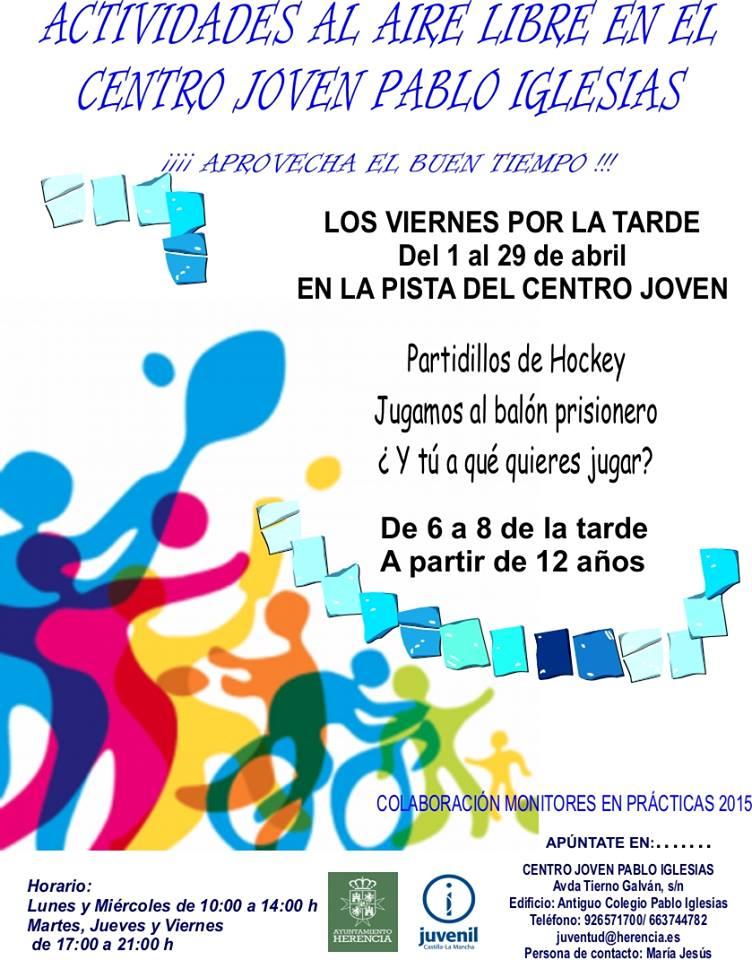 Actividades al aire libre para abril del Centro Joven 1