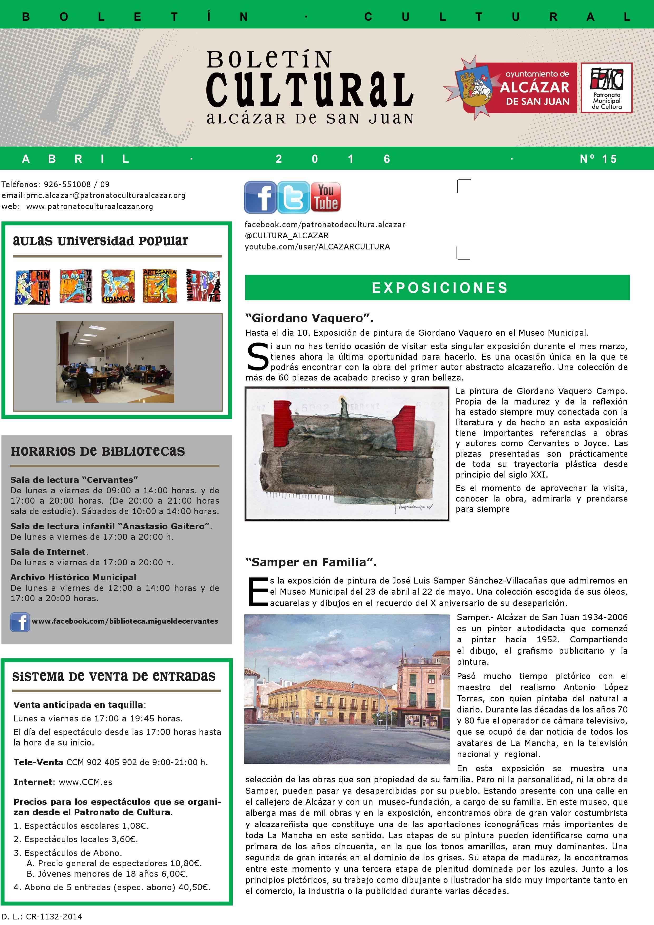 boletin cultural alcazar de san juan abril 2016 0001 - El Patronato de Cultura presenta las actividades para abril 2016