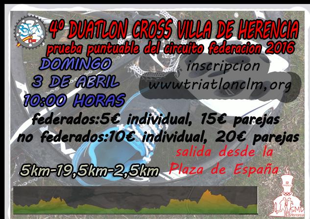 "cabecera Cartel duatlon cross herencia 2016 - IV Duatlón-Cross ""Villa de Herencia"" el próximo 3 de abril"