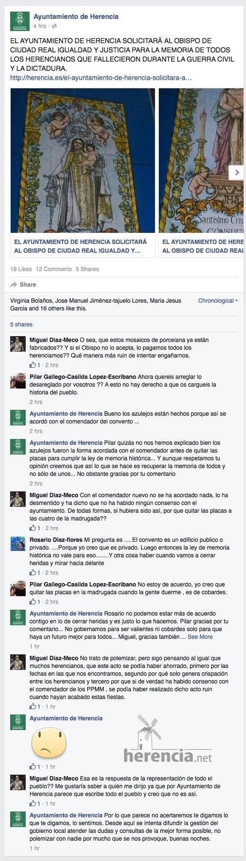 captura facebook noticia mosaicos por placas en convento - Ayuntamiento ya tenía listos los mosaicos para sustituir las placas de la fachada del Convento