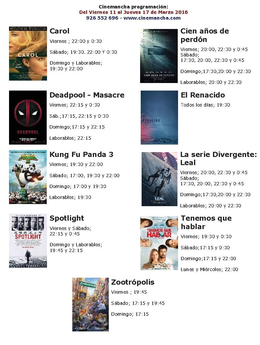 Cartelera Multicines Cinemancha del 11 al 17 de marzo 1