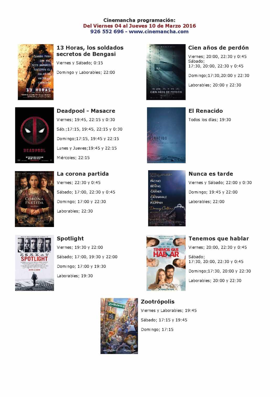 Cartelera Multicines Cinemancha del 04 al 10 de marzo 1