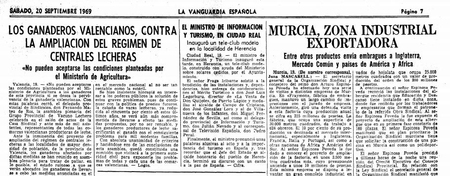 el ministro de informacion y turismo inagurua tele-club en herencia en 1969