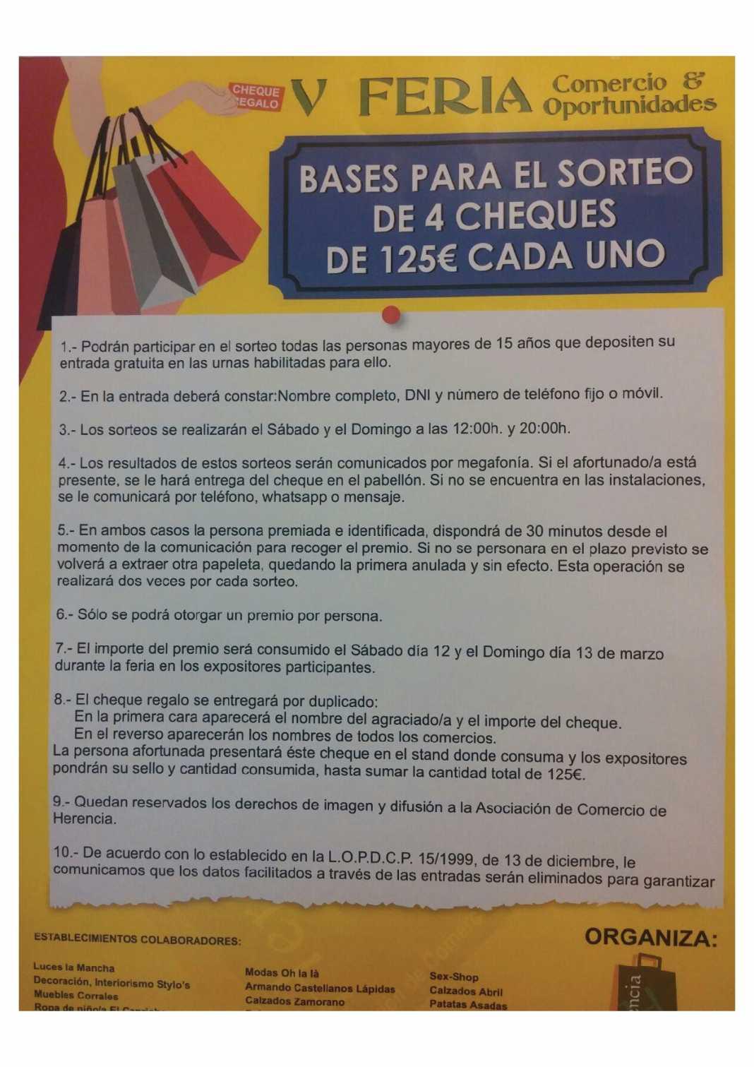4 Cheques de 125 euros serán sorteados en la V Feria del Comercio & Oportunidades 1