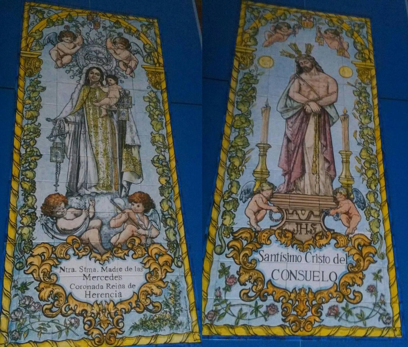 Mosaicos que el Ayuntamiento ya tenía preparados para sustituir las placas de la fachada del Convento de Herencia