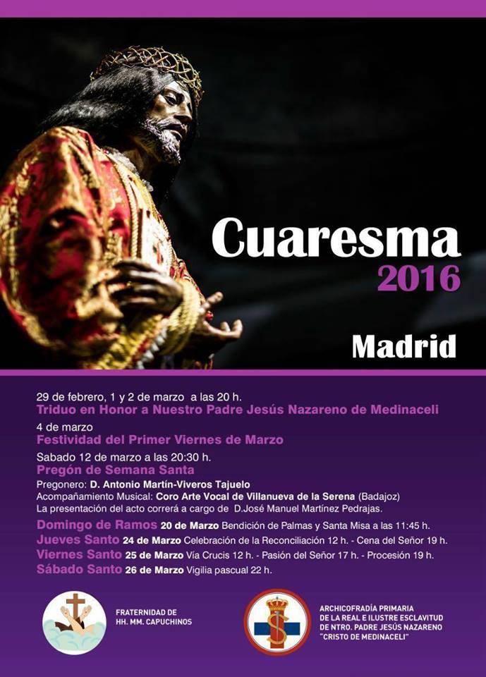 Un herenciano pregonero de la Semana Santa de Jesús de Medinaceli de Madrid 1