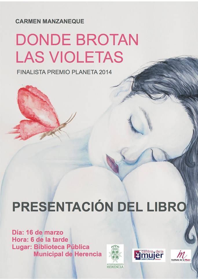 presentacion en Herencia del libro donde brotan las violetas de carmen manzaneque - Encuentro con la escritora Carmen Manzaneque en la biblioteca de Herencia