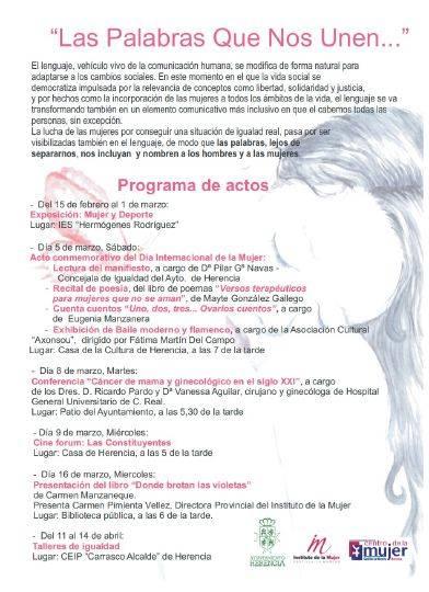 programa de actos dia de la mujer en herencia