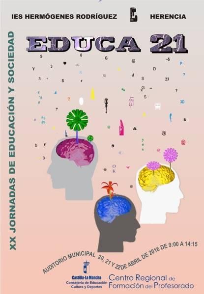 Cartel jornadas educacion y sociedad EDUCA 21 hermogenes rodriguez de Herencia