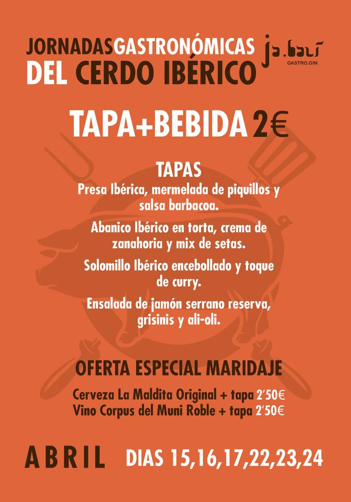 carta de las jornadas gastronomicas del cerdo iberico - Jornadas gastronómicas sobre el cerdo ibérico en Ja.bali Gastro