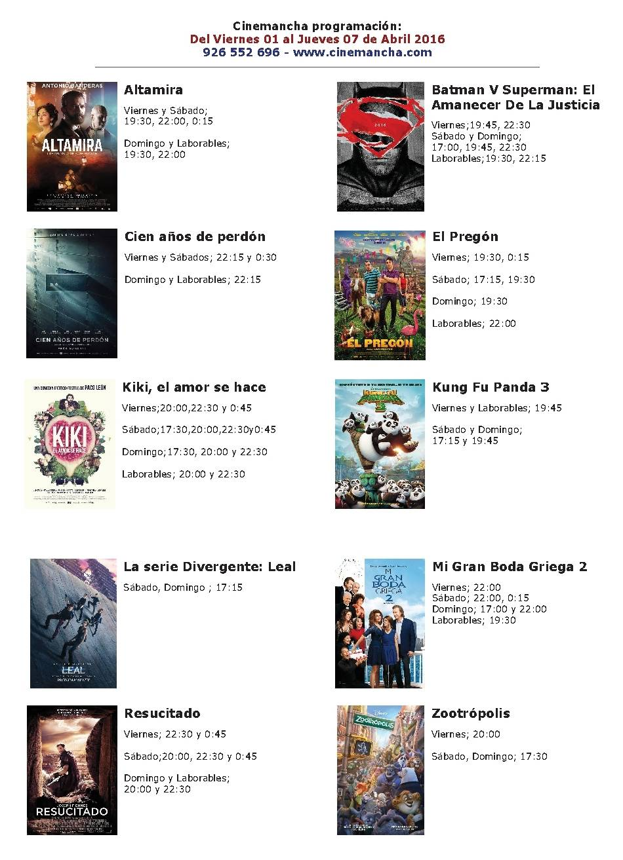 Cartelera de Cinemancha del 01 al 07 de abril 1
