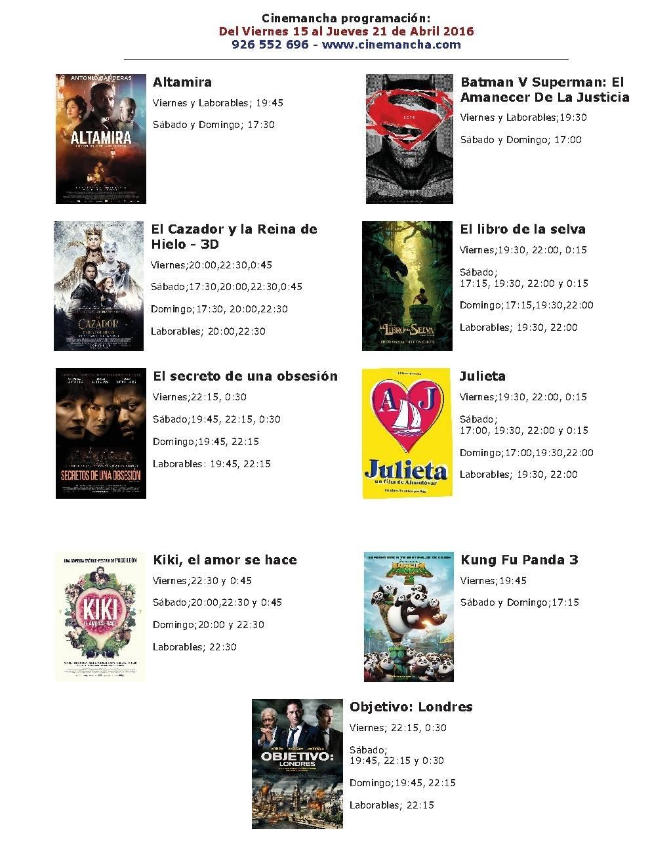 Cartelera de Cinemancha del 15 al 21 de abril 1