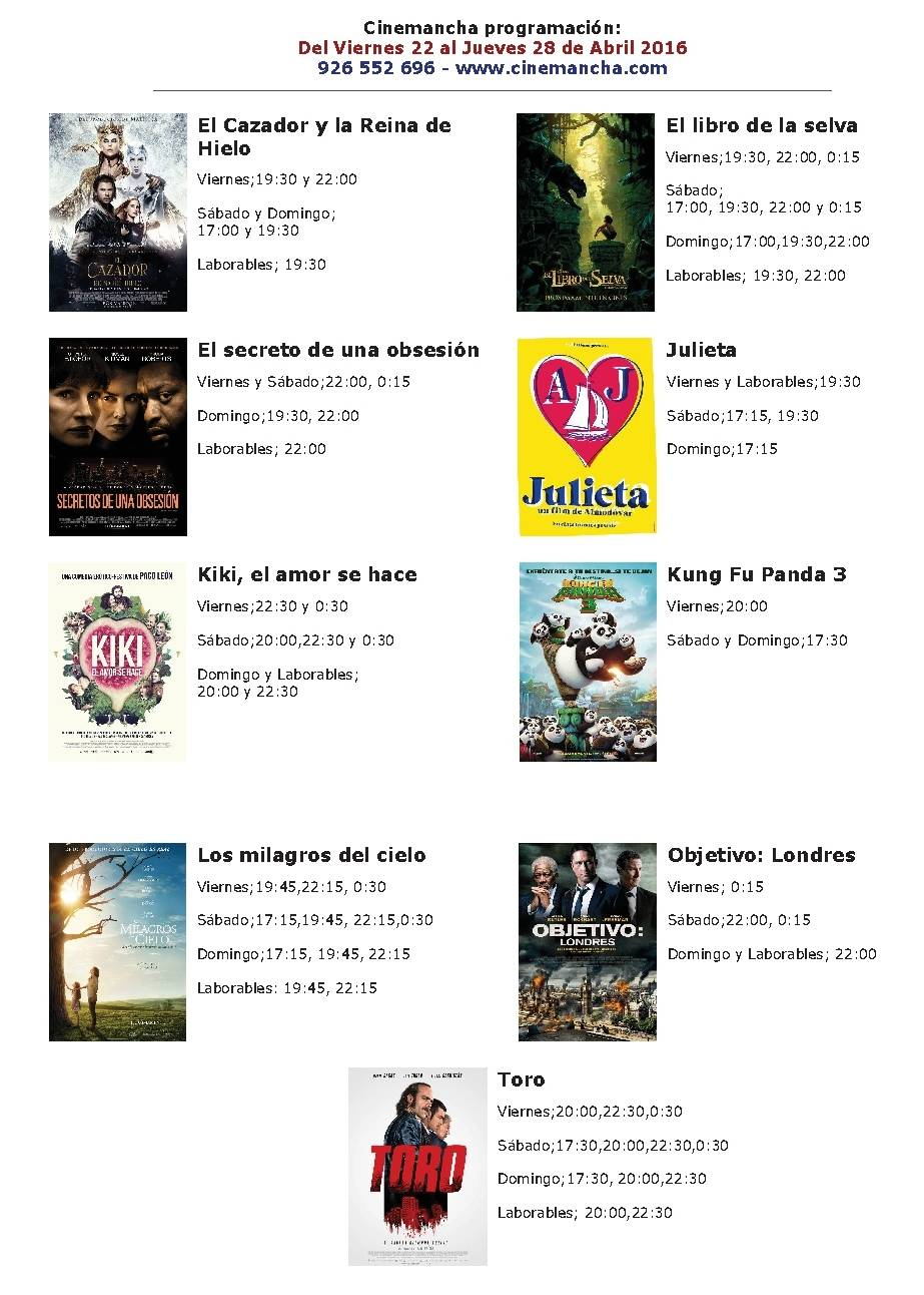 cartelera de cinemancha del 22 al 28 de abril - Cartelera de Cinemancha del 22 al 28 de abril