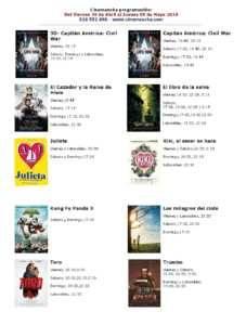 cartelera de multicines cinemancha de la semana del 29 de abril al 05 de mayo