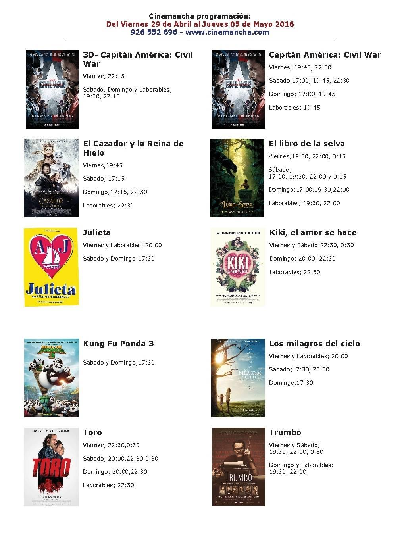 Cartelera Cinemancha del 29 de abril al 5 de mayo 1