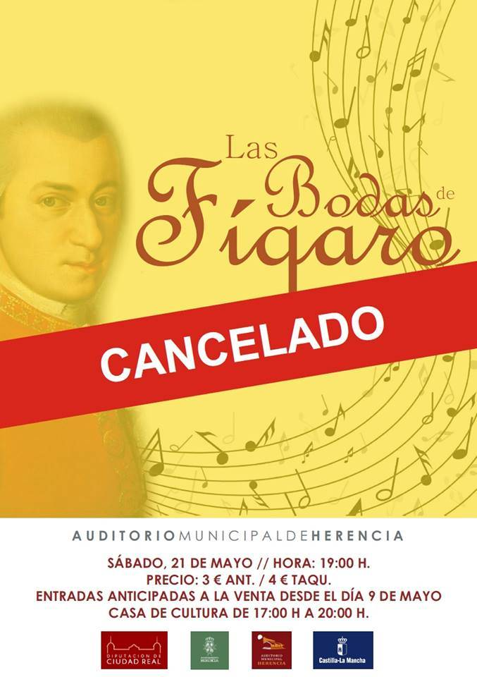 """Cancelación concierto las bodas de figaro - Cancelado el concierto de """"Las Bodas de Fígaro"""""""