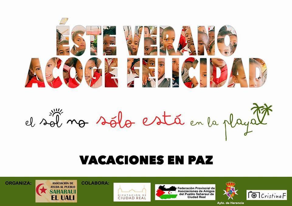 Cartel Vacaciones en Paz Herencia 2016 - En marcha el programa vacaciones en paz para acoger niños saharauis