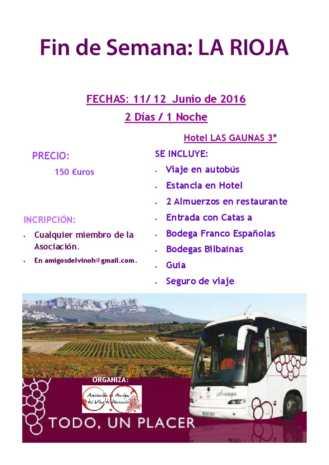 Cartel viaje a La Rioja - Amigos del Vino - Herencia