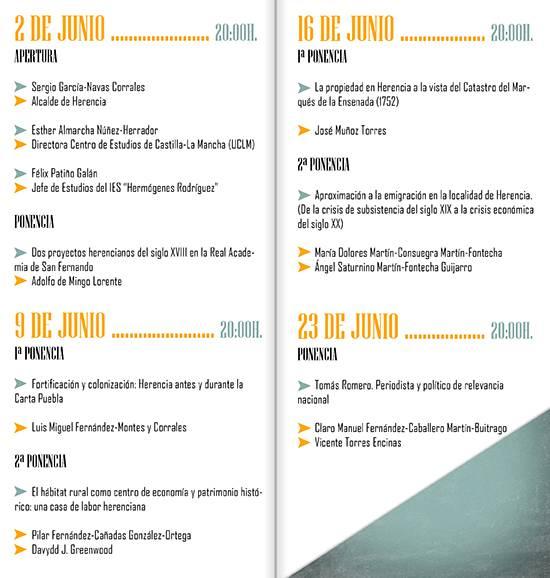Programa de las II Cartel de las II Jornadas de Historia de Herencia - Las II Jornadas de Historia de Herencia se celebrarán en junio