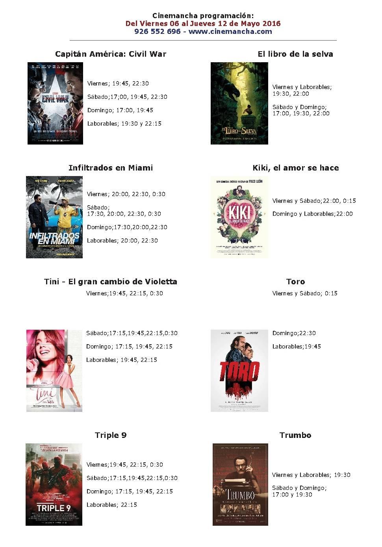 Cartelera Cinemancha del 6 al 12 de mayo 1