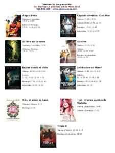 Cartelera Cinemancha del 13 al 19 de mayo.