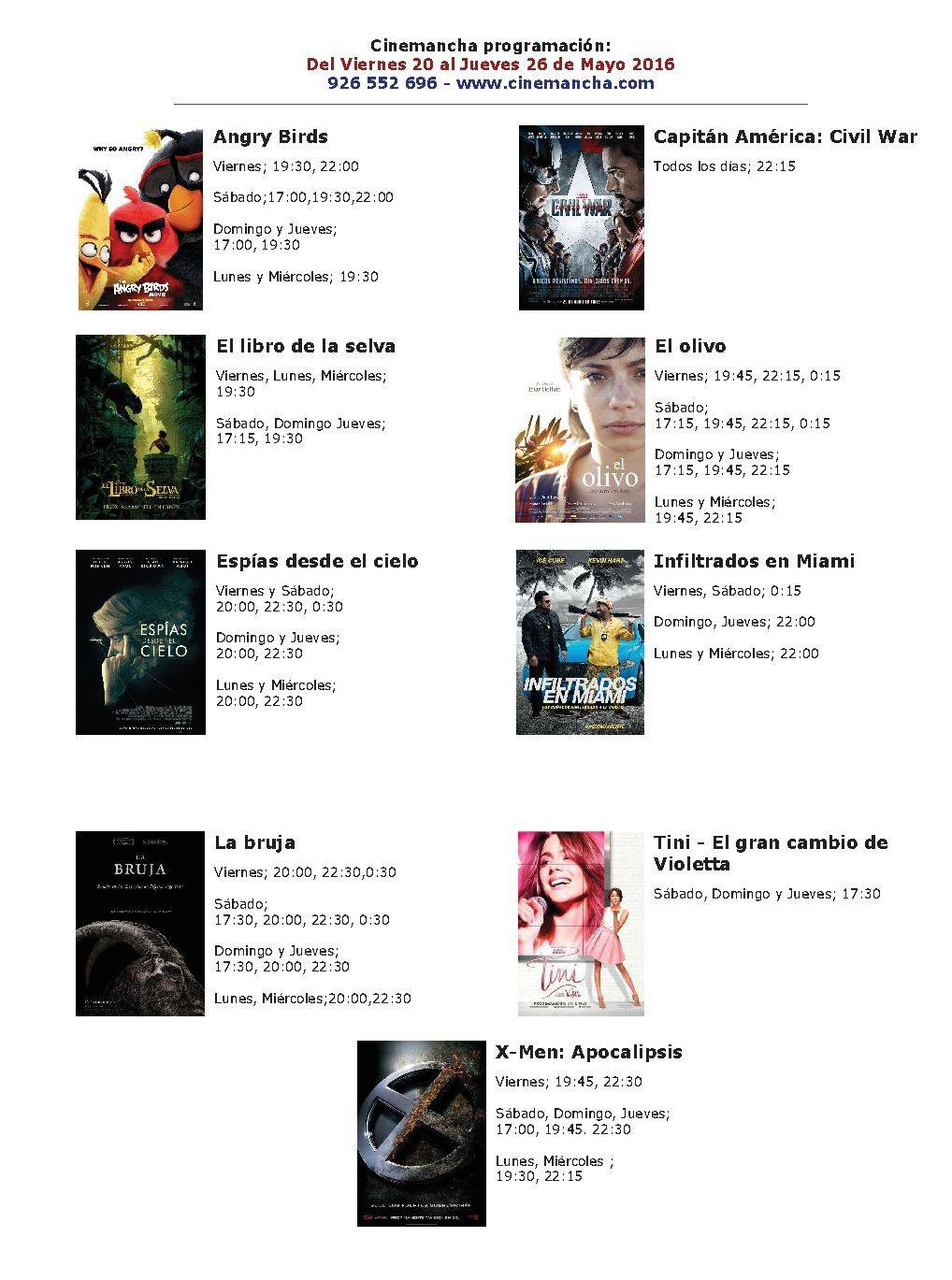 Cartelera Cinemancha del 20 al 26 de mayo 1