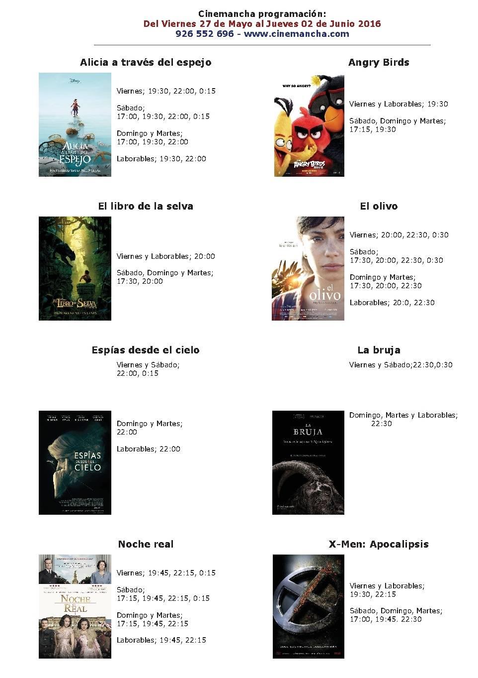 Cartelera Cinemancha del 27 de mayo al 02 de junio 1
