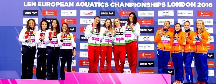 Podio de Natación femenia con plata para equipo español