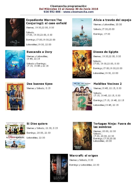 Cartelera Cinemancha hasta el 30 de junio 1