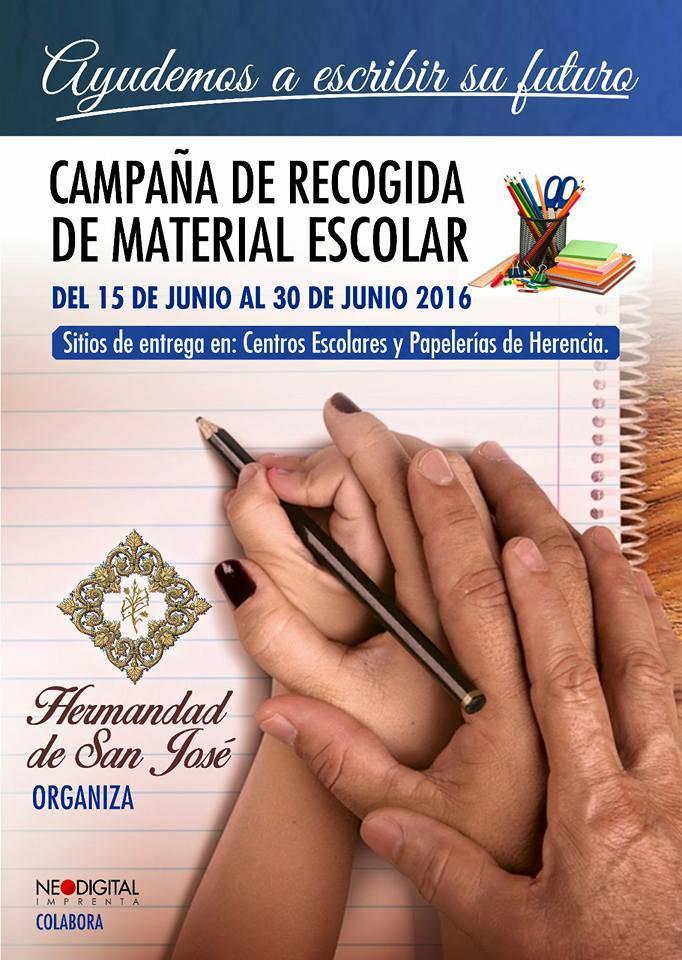 Campaña de recogida de material escolar de la hermandad de San José de Herencia