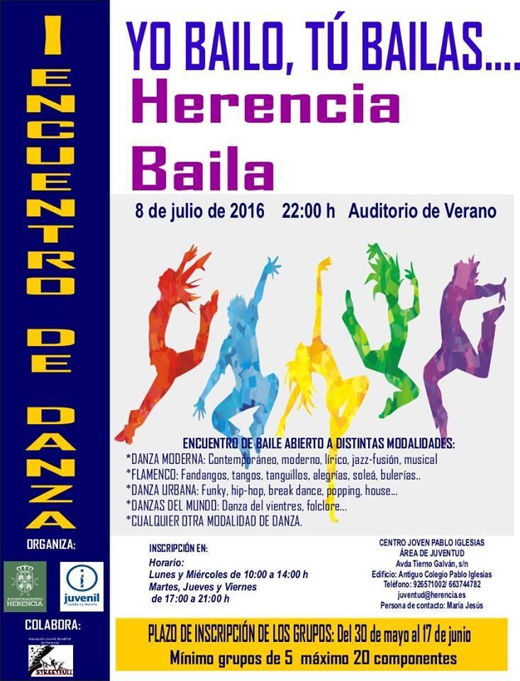 """Cartel I Encuentro Herencia Baila 1 - I Encuentro de Danza """"Yo Bailo, Tú Bailas… Herencia Baila"""""""