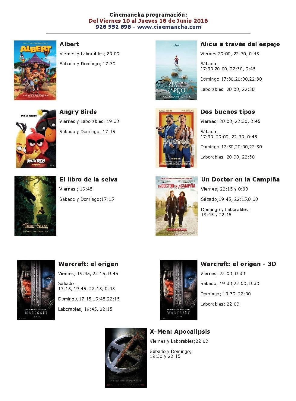 Cartelera Cinemancha del 10 al 16 de junio 1