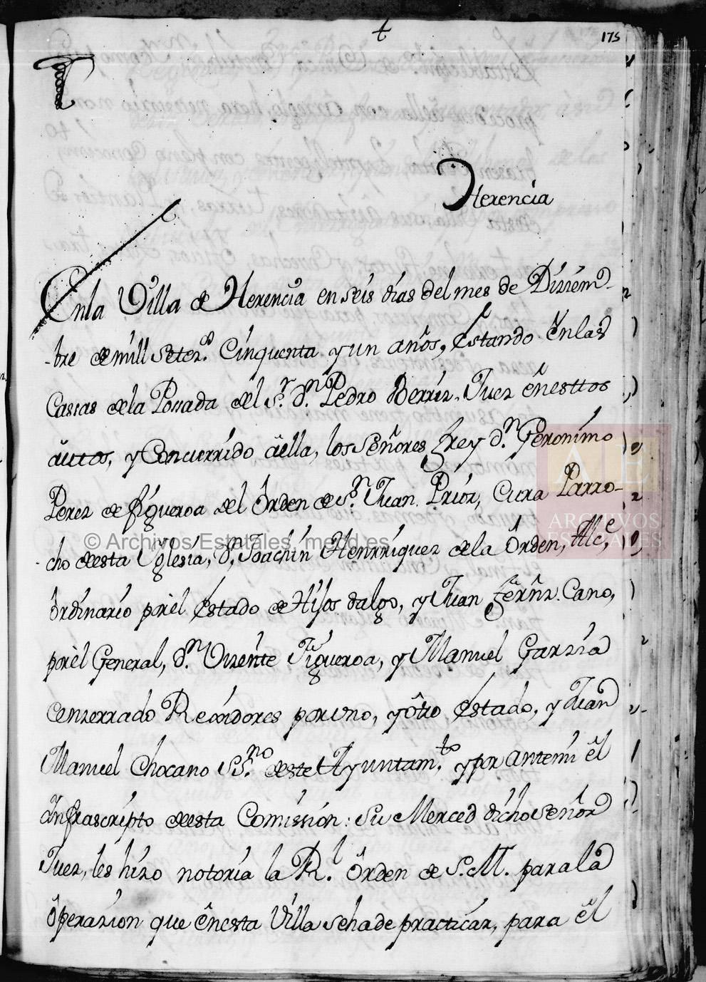 Primera Hoja del Cuestionario del Catastro del Marques de la Ensenada relativo a Herencia AGS CE RG L616 178 - Continúan las II Jornadas de Historia de Herencia