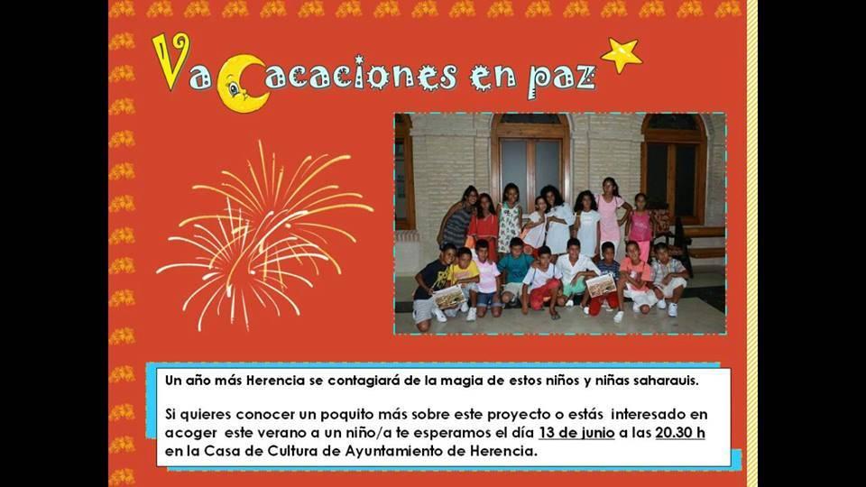 Vacaciones en Paz saharauis en Herencia - Acto público para presentar el programa Vacaciones en Paz