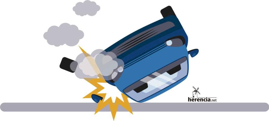 Representación de accidente de coche con salida de vía y volcado