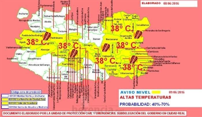 Altas temperaturas en Ciudad Real, aviso protección civil para 9 junio 2016