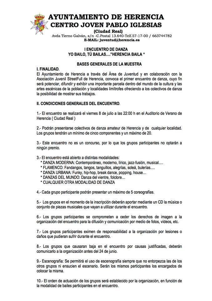 Bases del I Encuentro de Danza en Herencia (Ciudad Real)