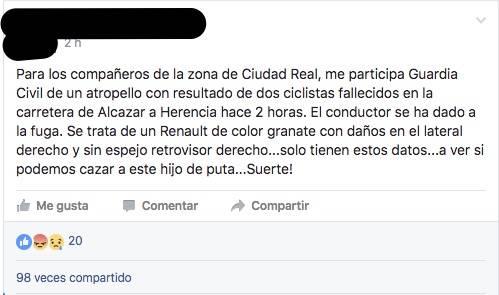 Captura sobre accidente en grupo de facebook