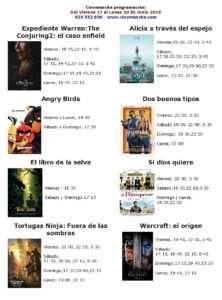cartelera de cinemacha hasta el proximo lunes 20 de junio