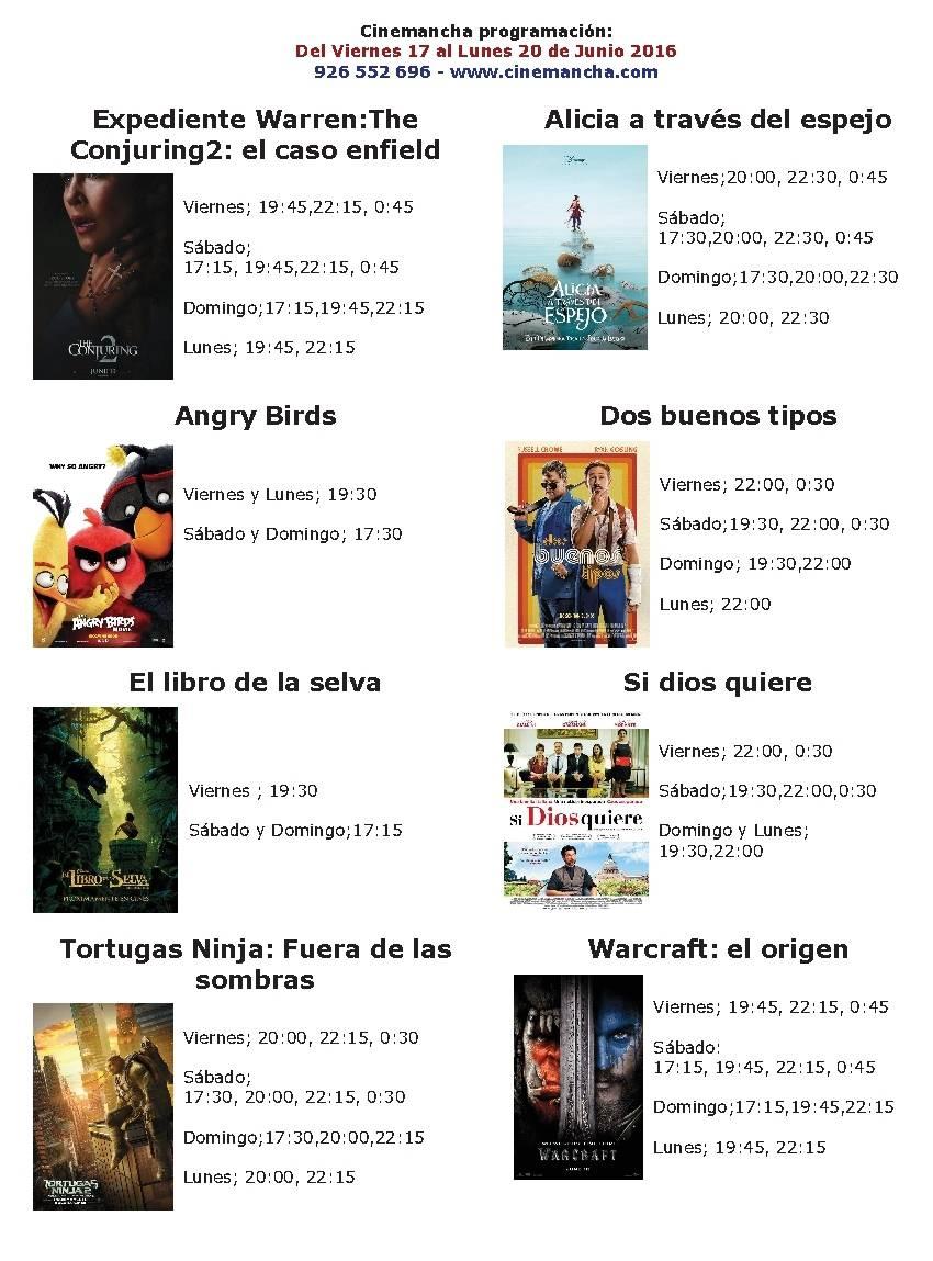 Cartelera Cinemancha hasta el lunes 20 de junio 1