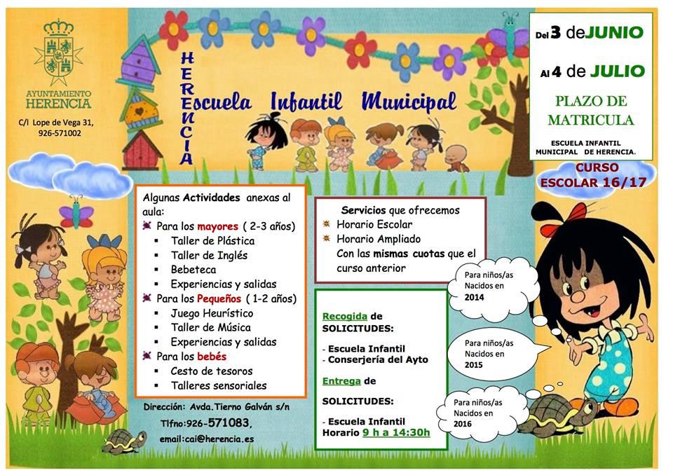 escuela infantil municipal curso 2016 2017 - Abierta la matrícula para la Escuela Infantil Municipal