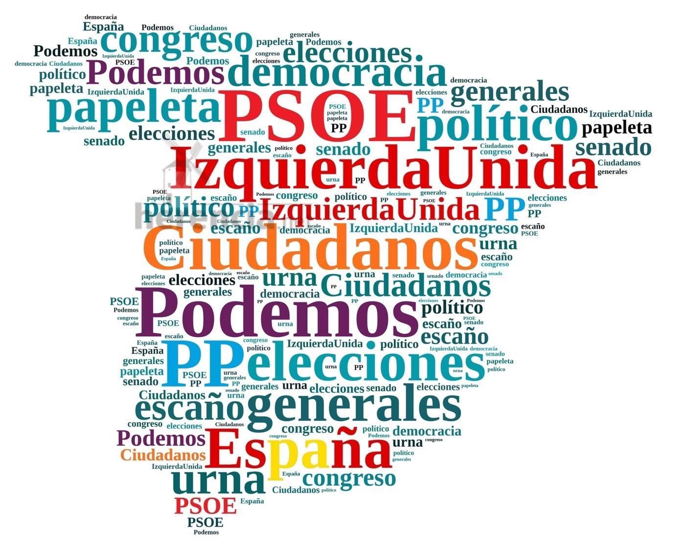 nube de partidos politicos elecciones generales - Resultados de las Elecciones Generales en España 2016