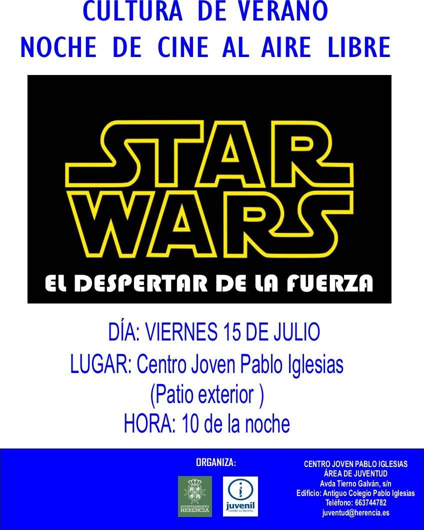 Star Wars El despertar de la fuerza - Noche de cine al aire libre: Star Wars